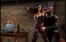 Submissive ebony girl punished by a white man