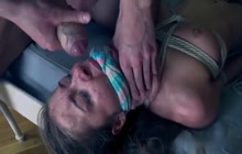 Roxy Bell tied up and gangbanged