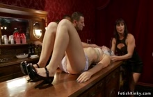 Bound slave is choked in public bar
