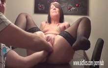 Submissive slut being double fisted