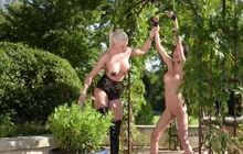 Asian girl whipped outdoors