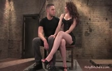 Cute domina in a lusty femdom porn