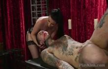 Busty Babe Enjoys Fucking a Dude in Bondage