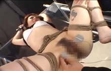 Tied Japanese gets dildo fucked