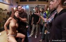 MILF in gangbang in public shop