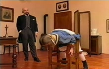 Hard punishment for a dirty schoolgirl