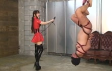 Japanese kinky mistress whipping her slave