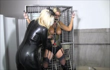 Blonde slut is tied up and gagged