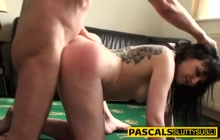 slut rides and sucks bdsm cock and gets facialized