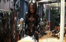 Latex Slut Pegging Dude's Ass