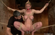 Busty MILF made squirt on hogtie