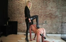 Stunning blonde with her submissive man