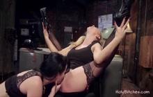 Blonde lesbians having hardcore BDSM fetish sex